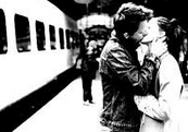 kissing before getting on a train