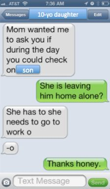 is she leaving him home alone?