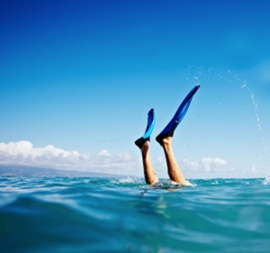 diving into the ocean